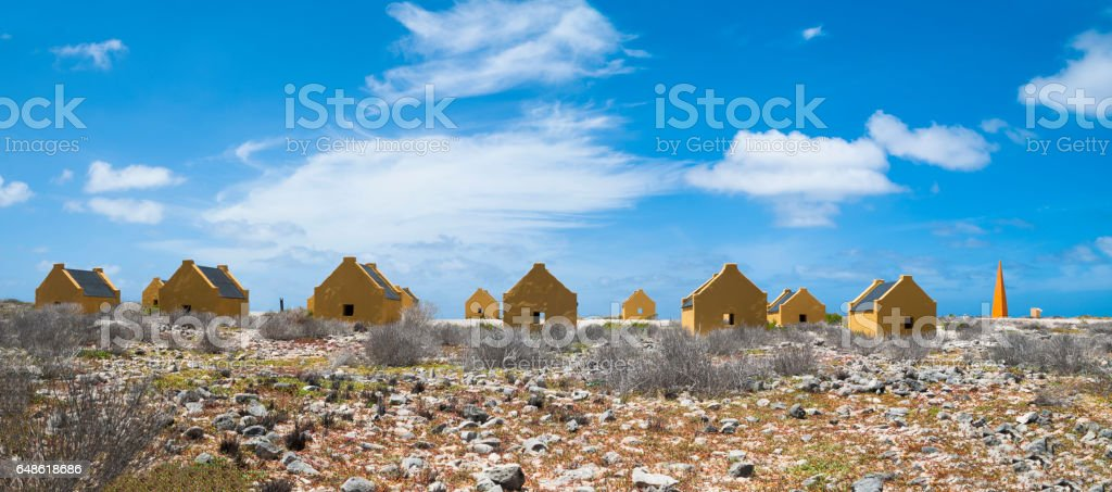 Slave huts, Bonaire stock photo