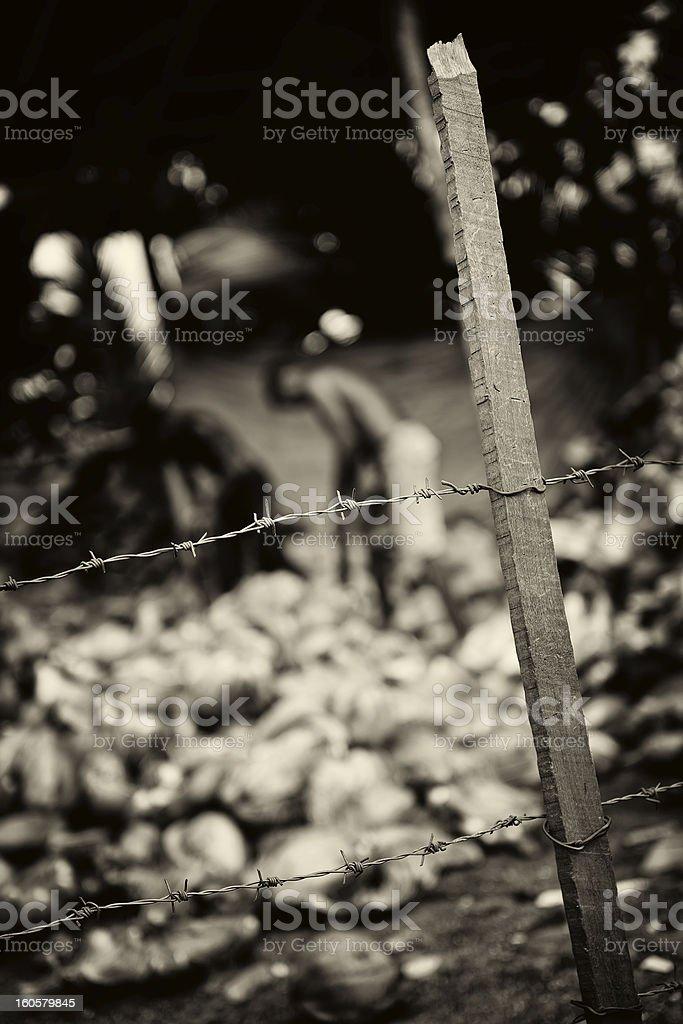 Slavery. Monochrome toned stock photo