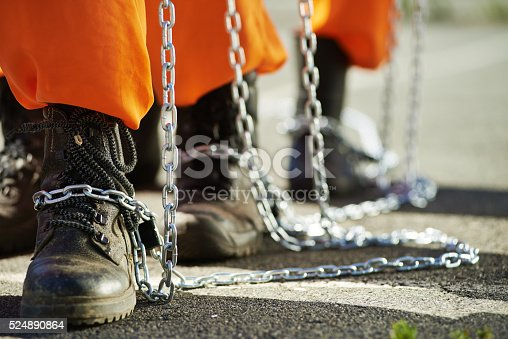 Close-up of male feet in chains