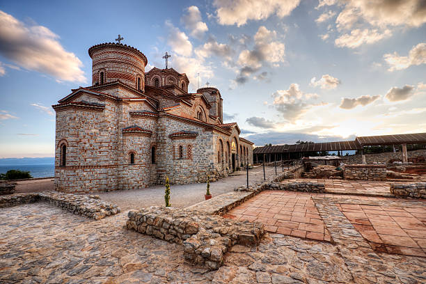 "Slavic Europe Ohrid, Macedonia: The historic Orthodox ""Saint Panteleimon"" monastery at sunset.   Please see my related collections...  [url=search/lightbox/7431206][img]http://i161.photobucket.com/albums/t218/dave9296/Lightbox_Vetta.jpg[/img][/url]   [url=search/lightbox/8833461][img]http://i161.photobucket.com/albums/t218/dave9296/Lightbox_Balkans.jpg[/img][/url]   [url=search/lightbox/9405056][img]http://i161.photobucket.com/albums/t218/dave9296/Lightbox_medieval.jpg[/img][/url] [url=search/lightbox/9764345][img]http://i161.photobucket.com/albums/t218/dave9296/Lightbox_SunriseSunset.jpg[/img][/url]  [url=search/lightbox/6315481][img]http://i161.photobucket.com/albums/t218/dave9296/Lightbox_HDR2-V2.jpg[/img][/url]   [url=search/lightbox/6161971][img]http://i161.photobucket.com/albums/t218/dave9296/Lightbox_religion-V2.jpg[/img][/url]   [url=search/lightbox/4719824][img]http://i161.photobucket.com/albums/t218/dave9296/Lightbox_travelers-V2.jpg[/img][/url]   [url=search/lightbox/4714279][img]http://i161.photobucket.com/albums/t218/dave9296/Lightbox_mediterranean1-V2.jpg[/img][/url] davelongmedia stock pictures, royalty-free photos & images"