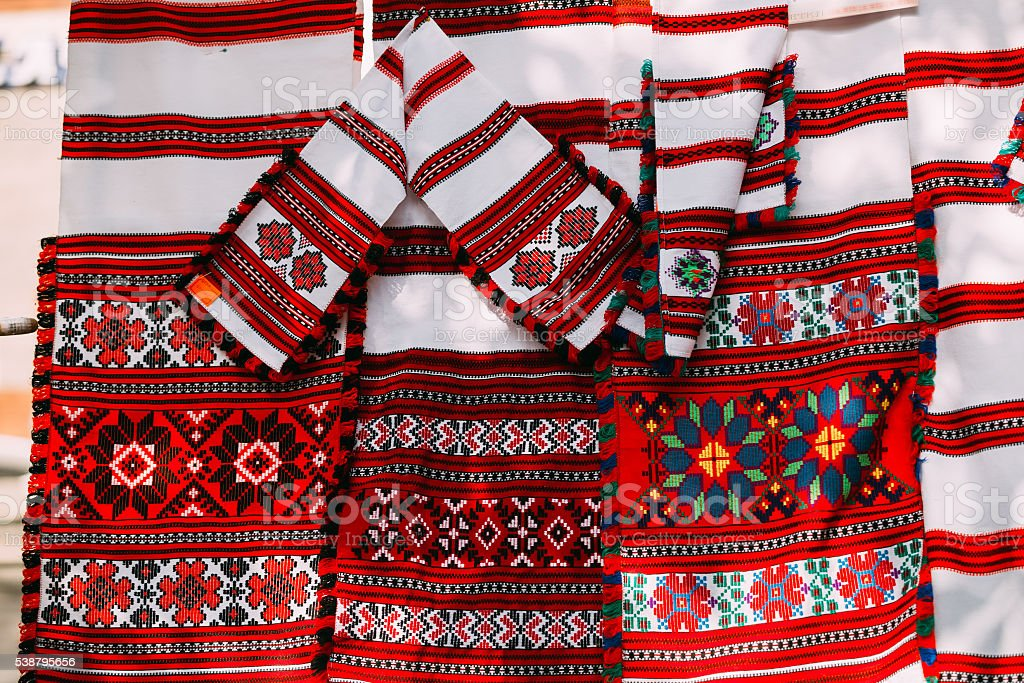 Slavic Traditional Pattern Ornament Embroidery. Culture of Belarus stock photo
