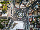 Directly above view of Slavija Roundabout in Belgrade, Serbia with traffic.