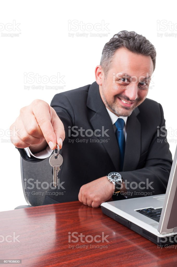 Slective focus of man holding keyas real estate concept stock photo