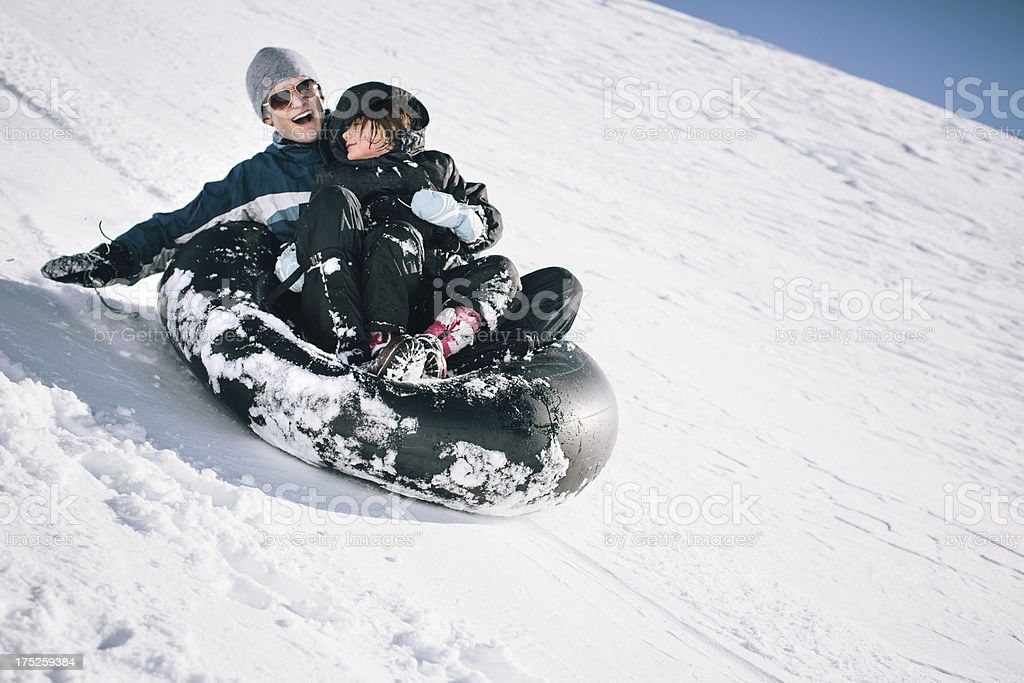 Sledding Fun royalty-free stock photo