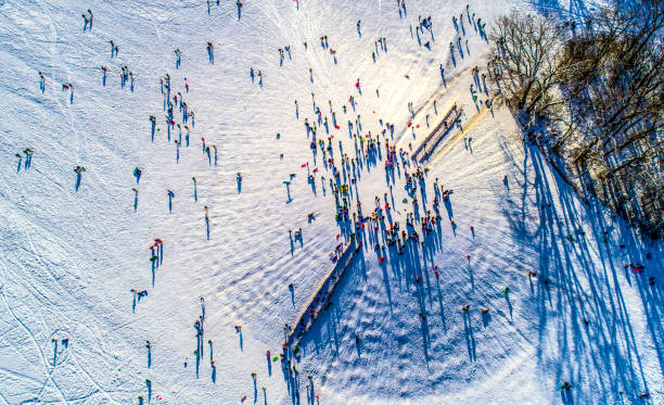 Sledding, Schiller Woods, Chicago,IL Aerial View stock photo