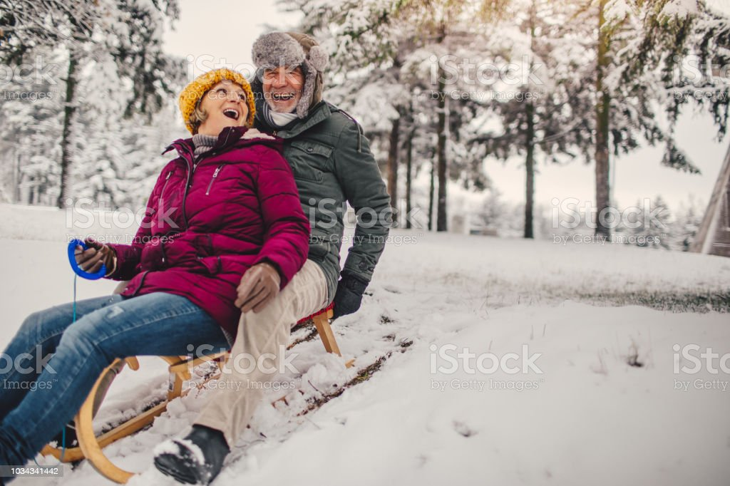 Sledding time stock photo