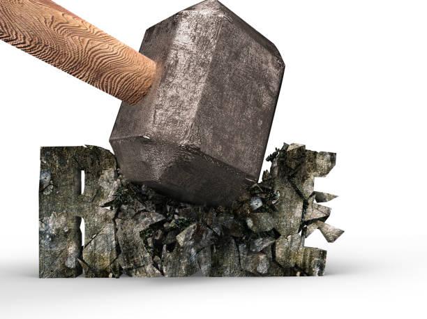 Sledgehammer zerschlagen Regel konkretes Wort geknackt, 3D-Rendering. – Foto