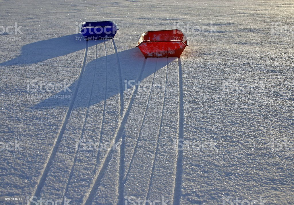 Sleds on snow (2) royalty-free stock photo