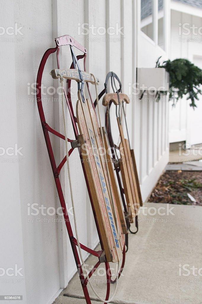 Schlitten bereit für Action Lizenzfreies stock-foto