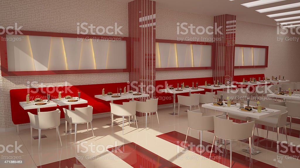 Sleek And Modern Restaurant With Red And White Color