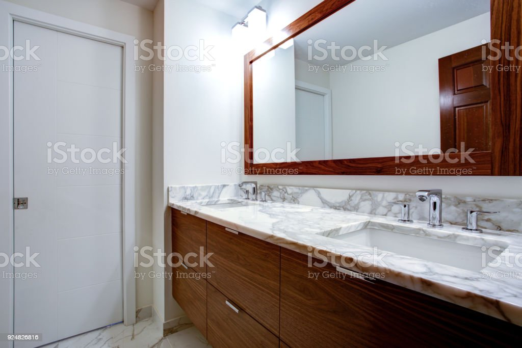 Sleek Bathroom With Double Vanity Cabinet Stock Photo Download Image Now Istock