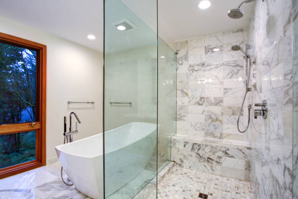 Sleek bathroom with freestanding bathtub and walk in shower stock photo