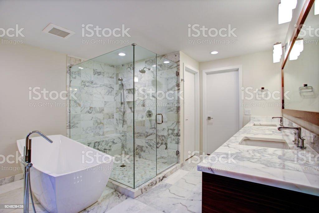 Elegante casa de banho com banheira autônoma e pé no chuveiro - foto de acervo