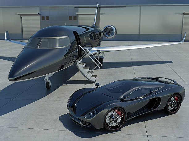 Sleek black sports car and black corporate jet A modern sports car and private jet at an airport. My own unique car and corporate jet designs. Very high resolution 3D render. status symbol stock pictures, royalty-free photos & images
