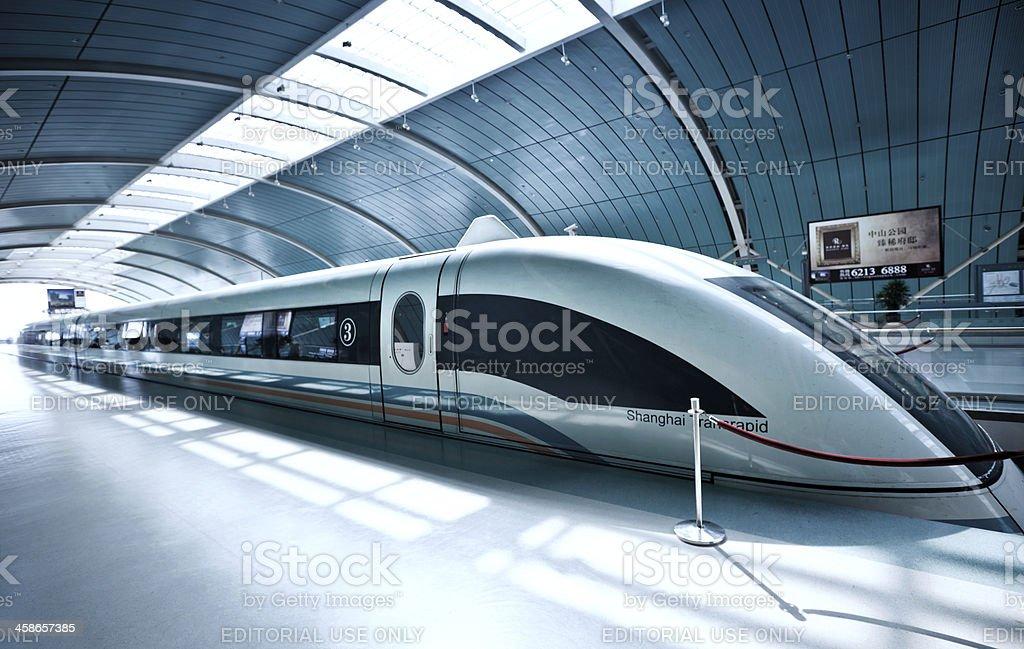 Sleek futuristic train in Shanghai, China stock photo