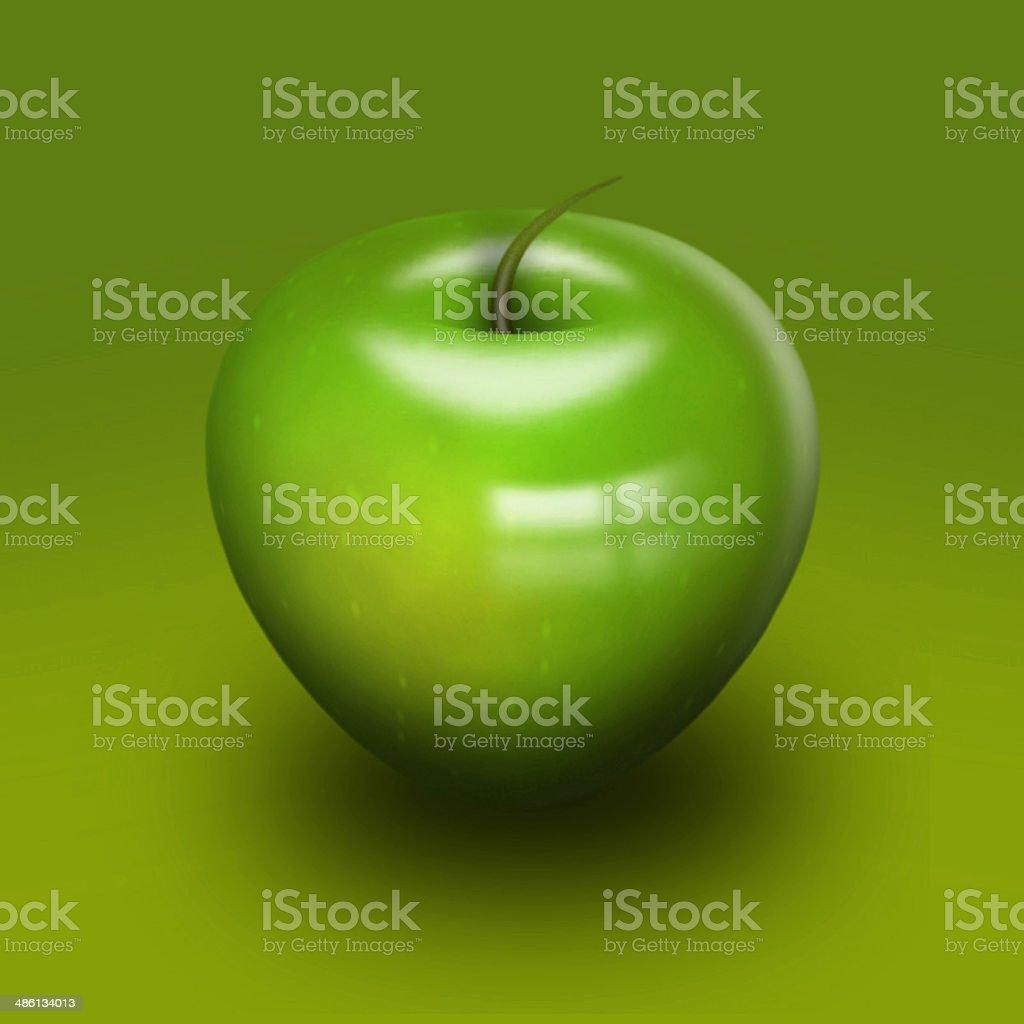 Elegante Lucentissima Apple Closeup Su Sfondo Verde Fotografie