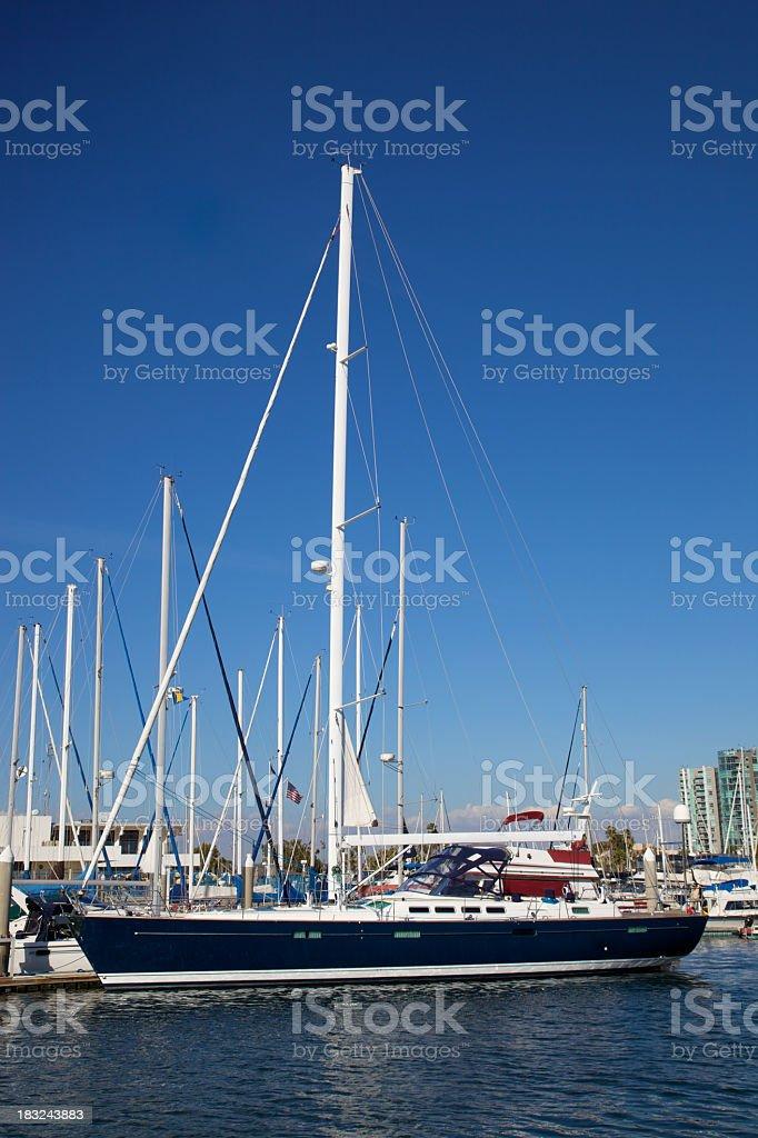 Sleek Sloop in Marina Del Rey royalty-free stock photo