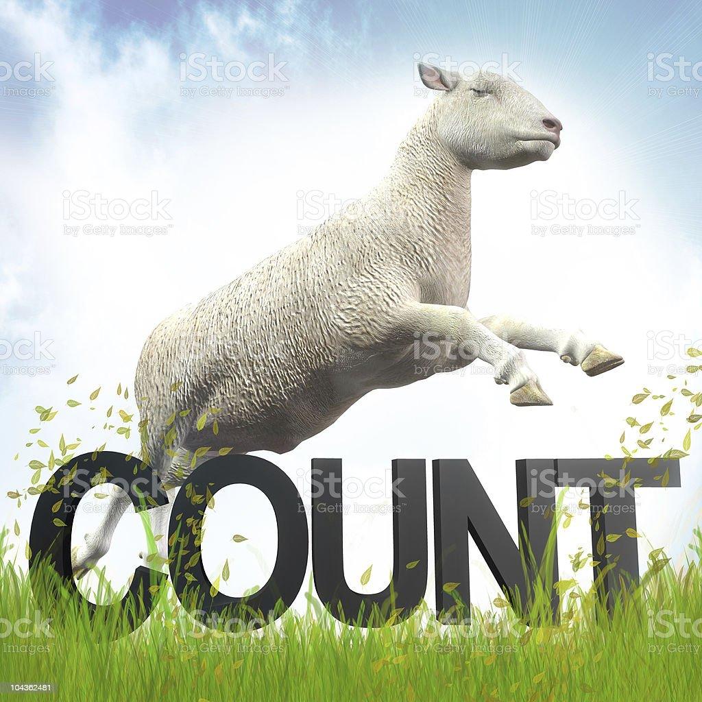 Sleeping and jumping lamb illustration stock photo