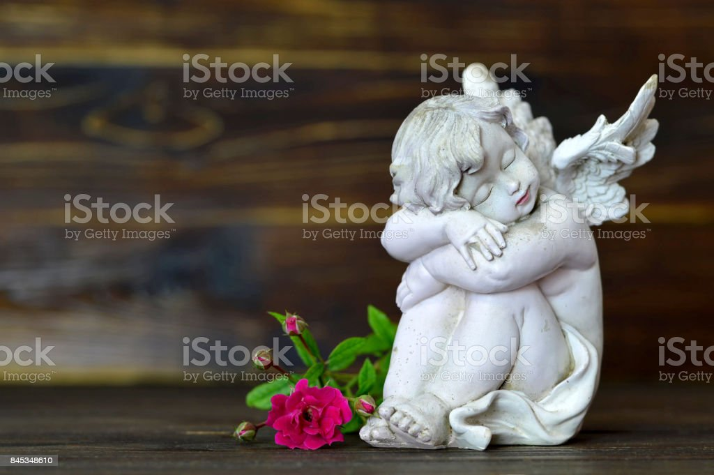 Sleeping angel and single rose on wooden background stock photo