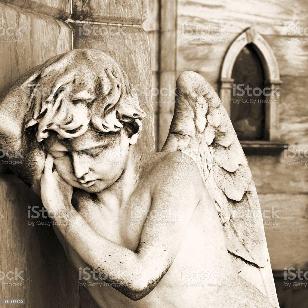Sleeping Angel at La Recoleta Cemetery stock photo