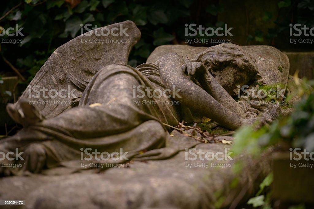 Sleeping Angel, Highgate Cemetery, London stock photo