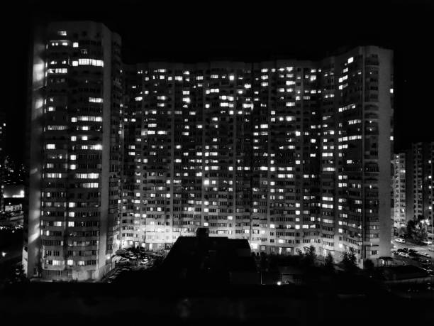 Sleeping areas anthill high-rise city lights real estate modern many apartments stock photo