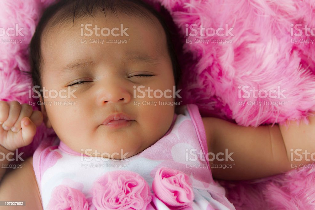 f7765b44a71d Sleeping Baby Girl In Pink Stock Photo   More Pictures of Babies ...