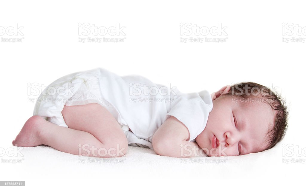 sleeping baby isolated on white stock photo