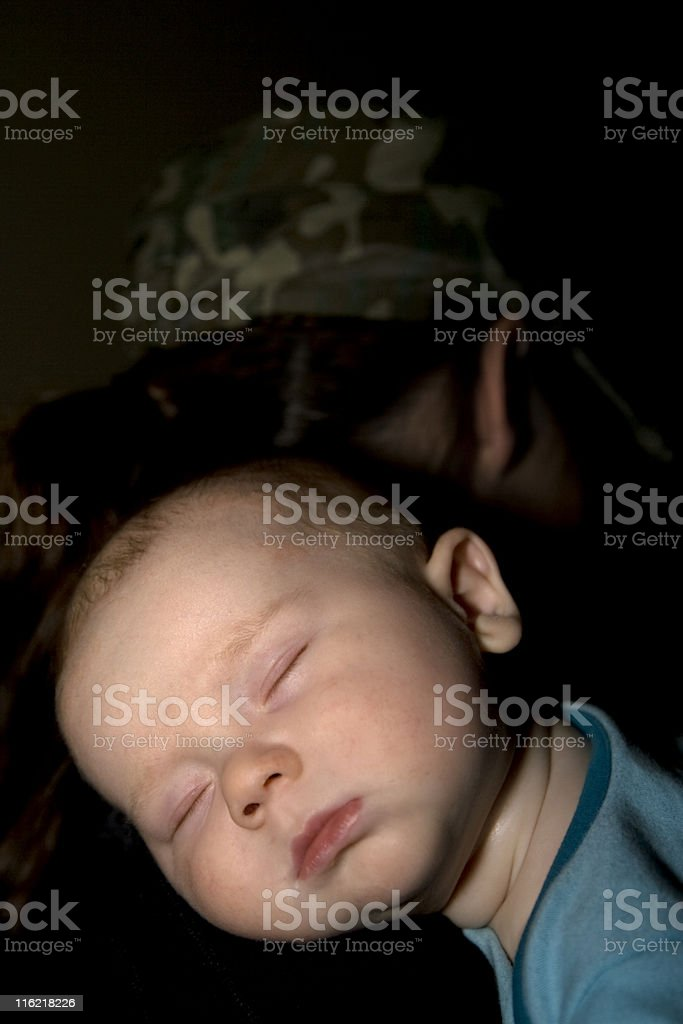 Sleeping Baby on Mother's Shoulder, Infant, Peaceful, Quiet, Children, People royalty-free stock photo