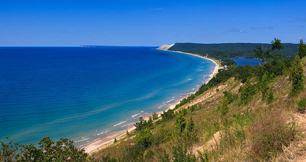 sleeping bear dunes national lakeshore from empire bluff - lake michigan stock pictures, royalty-free photos & images