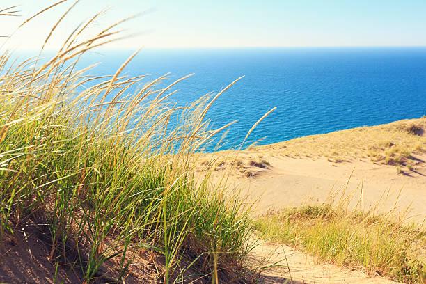sleeping bear dunes national lakeshore in michigan - lake michigan stock pictures, royalty-free photos & images