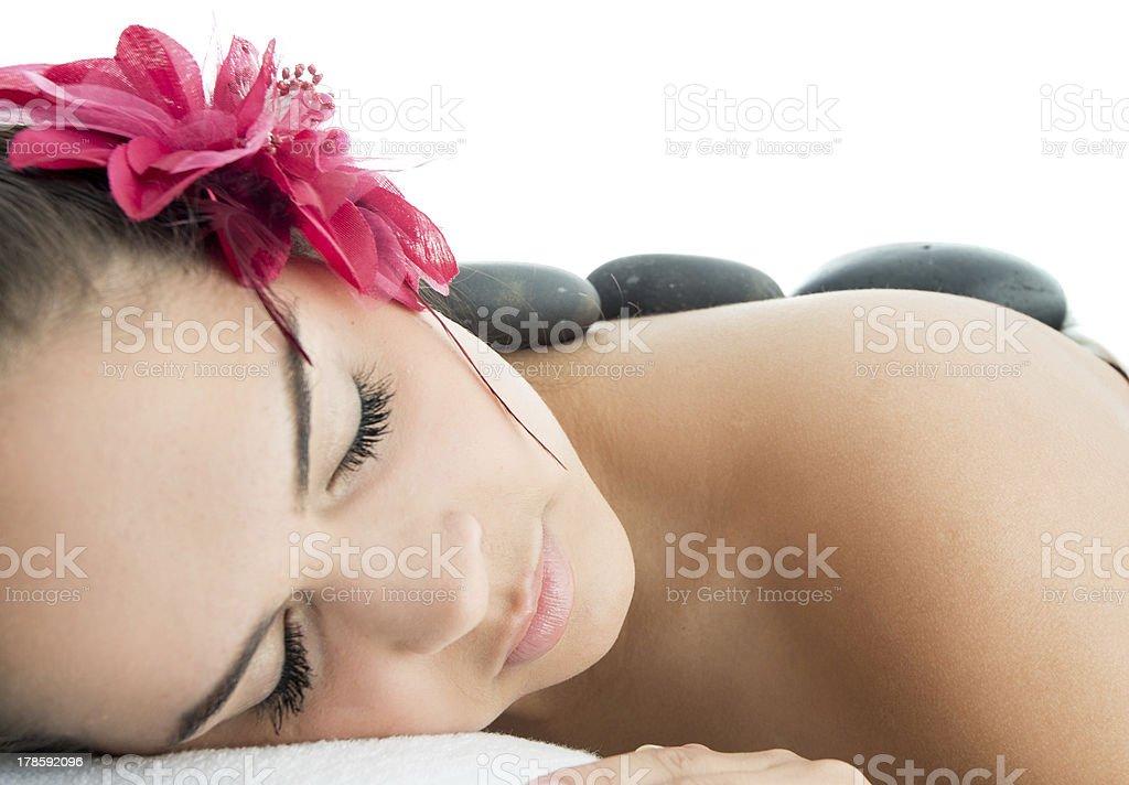 Sleeping beaty at the spa royalty-free stock photo