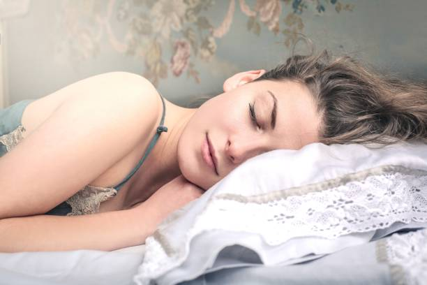 Sleeping , beautiful woman stock photo