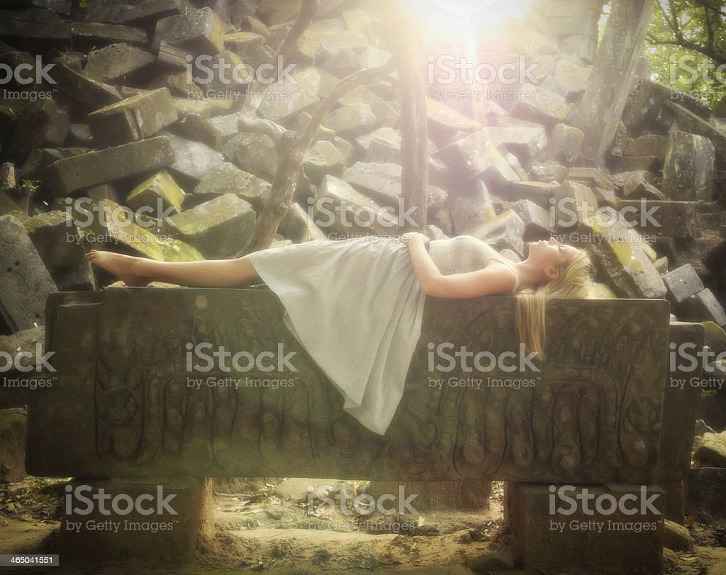 Sleeping Beauty Fairytale Princess stock photo