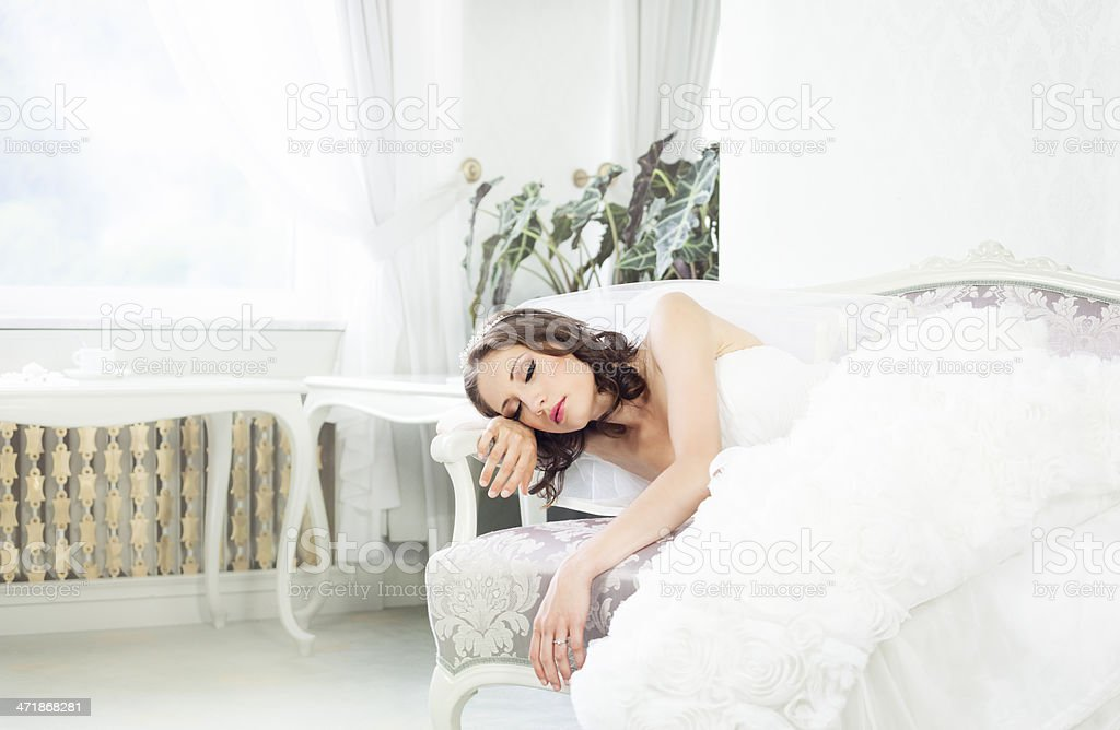 Sleeping bride stock photo