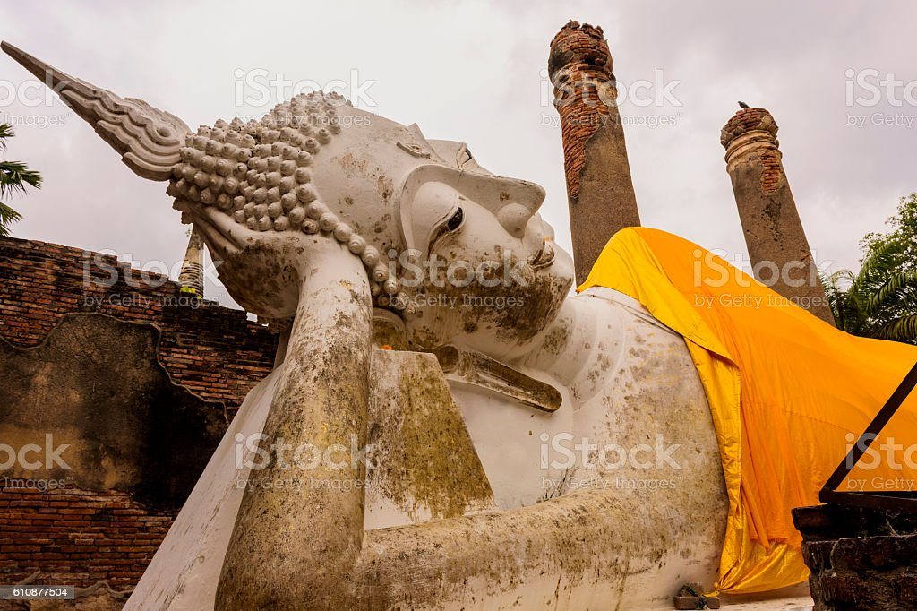 Sleeping Buddha. Temple of Buddha in Ayutthaya, Thailand stock photo