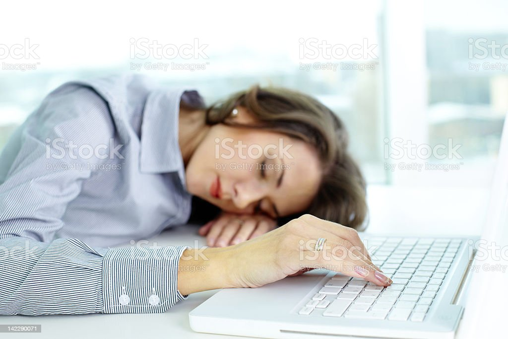 Sleeping business girl royalty-free stock photo