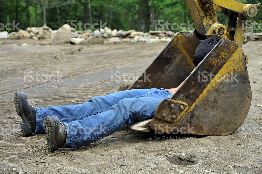 Sleeping Construction Worker stock photo