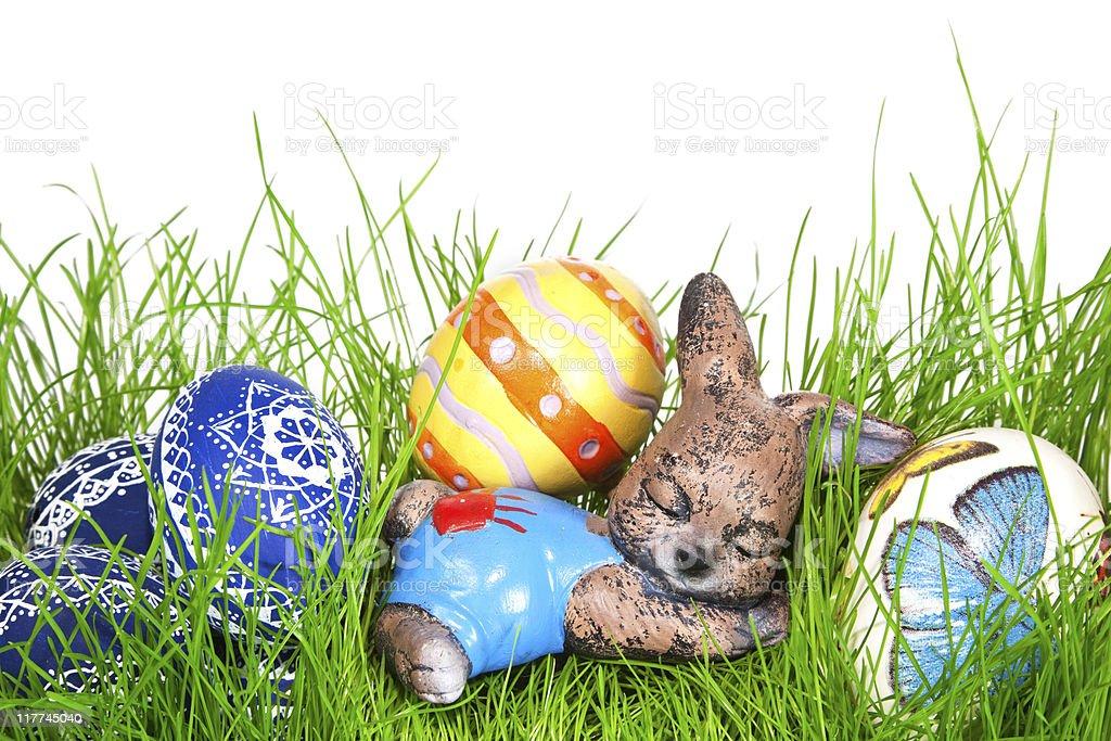 Sleeping Easter Bunny royalty-free stock photo