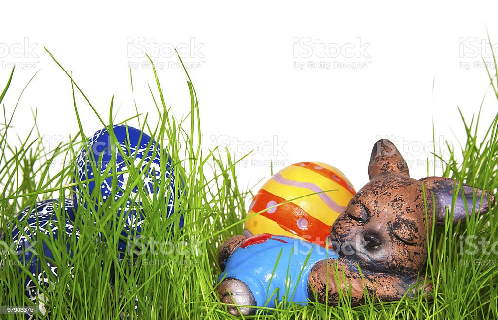 Sleeping Easter Hare royalty-free stock photo