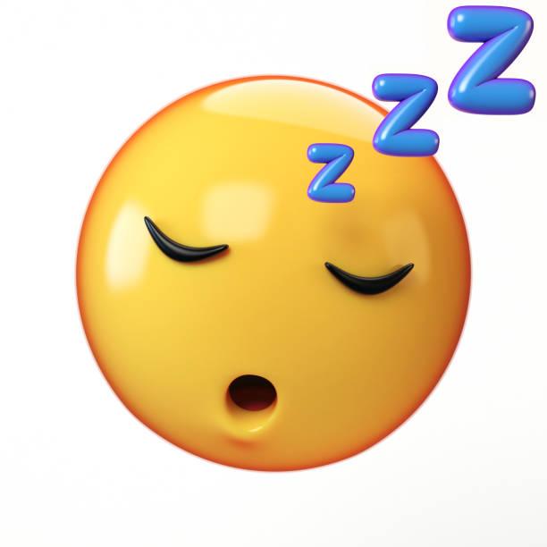 slapen emoji geïsoleerd op een witte achtergrond, emoticon onbeweeglijk 3d-rendering - sleeping illustration stockfoto's en -beelden