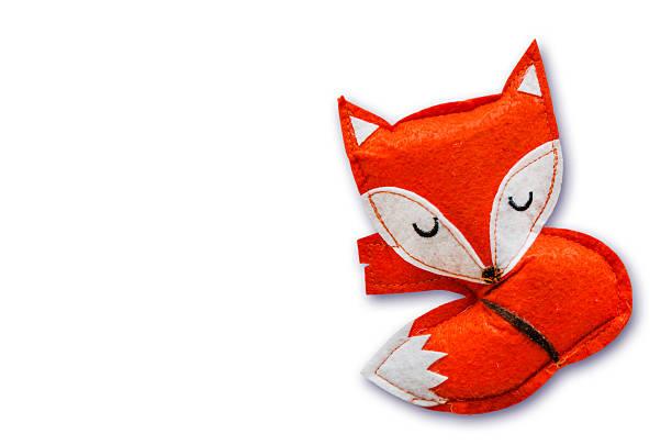 schlafen fox - filzunterlage stock-fotos und bilder