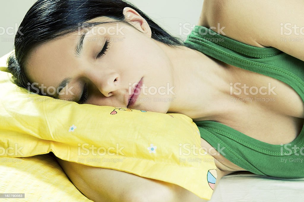 Sleeping girl stock photo