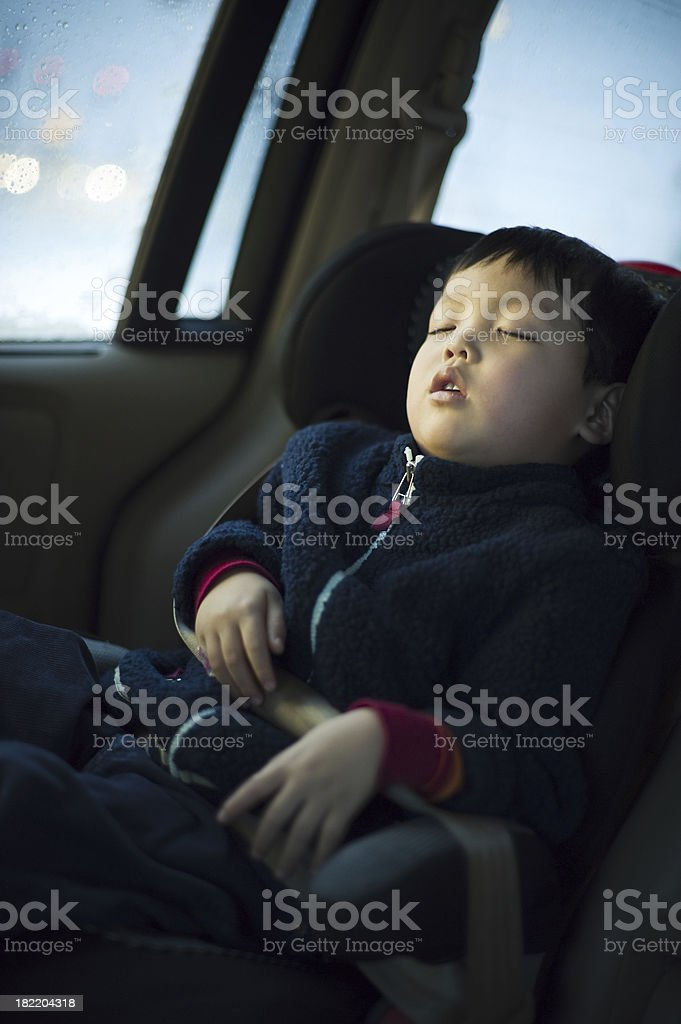 Sleeping in a car royalty-free stock photo