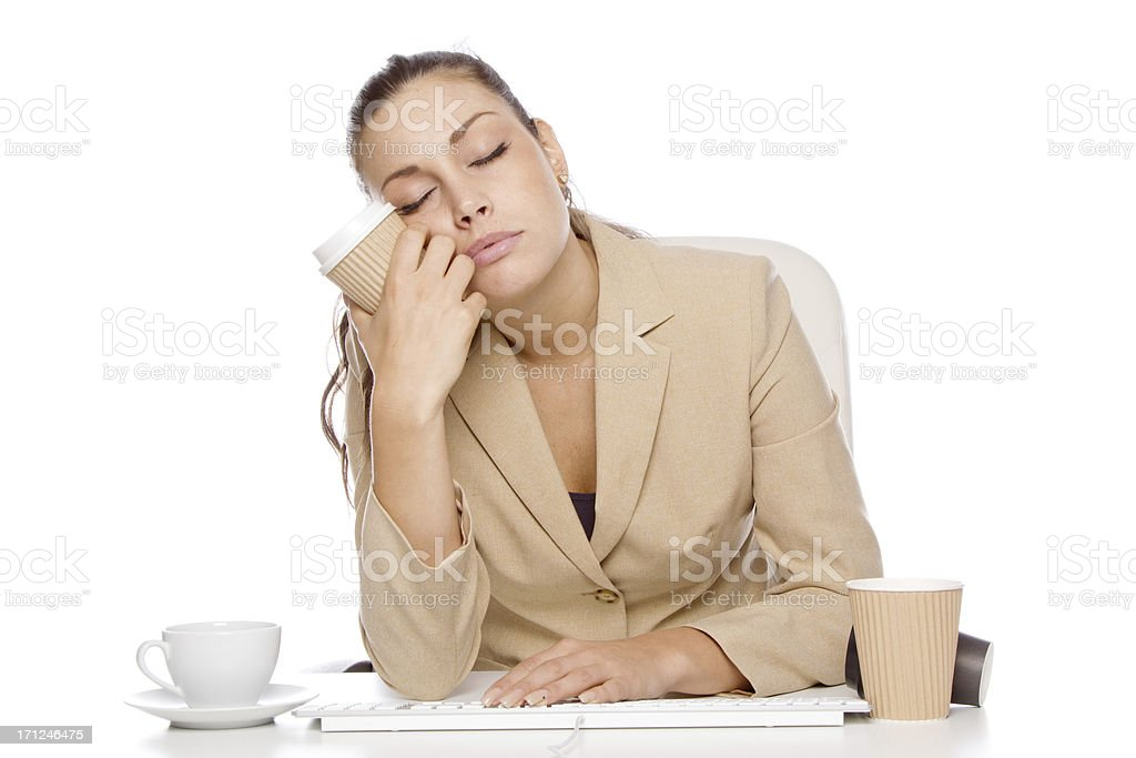 Sleeping in front of computer stock photo