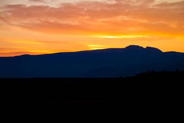 Sleeping Indian Mountain at Sunset stock photo