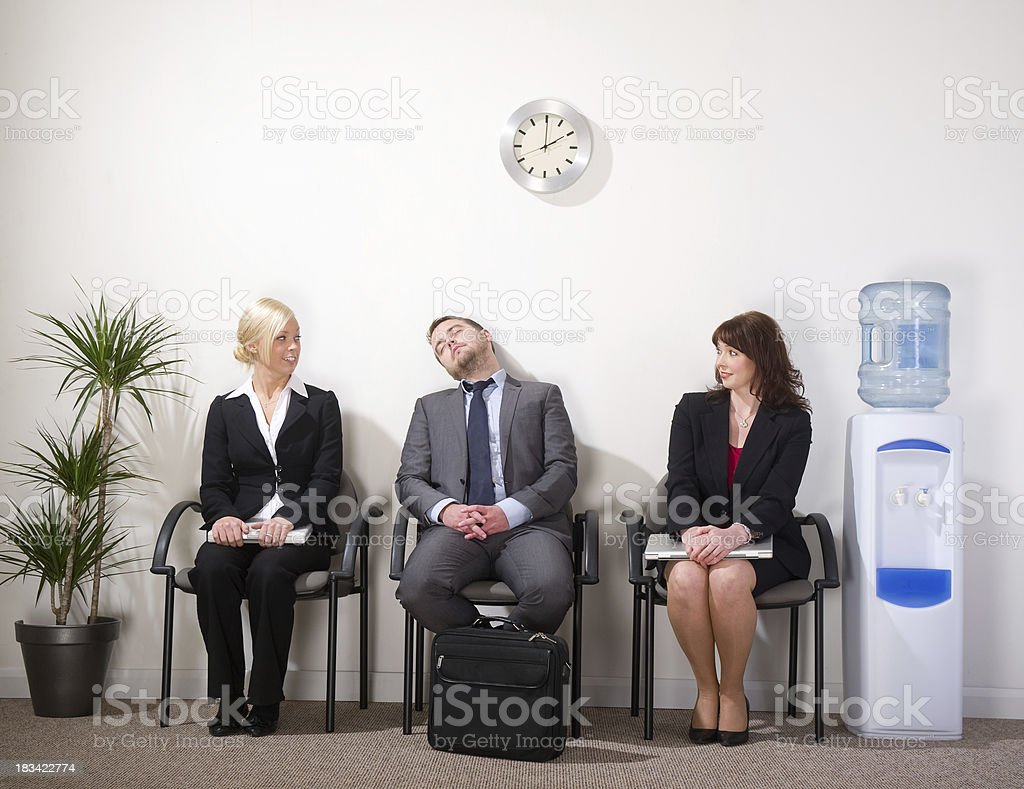 sleeping interviewee royalty-free stock photo