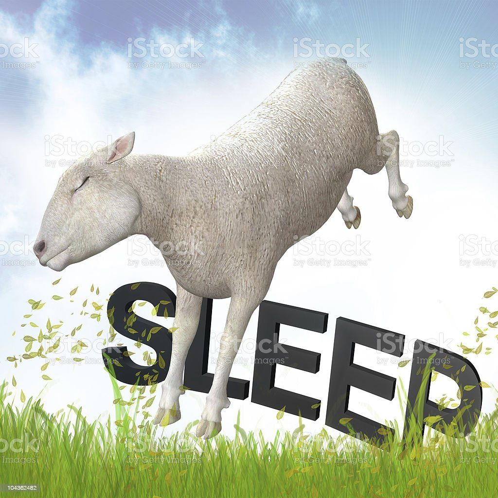 Sleeping jumping lamb illustration stock photo