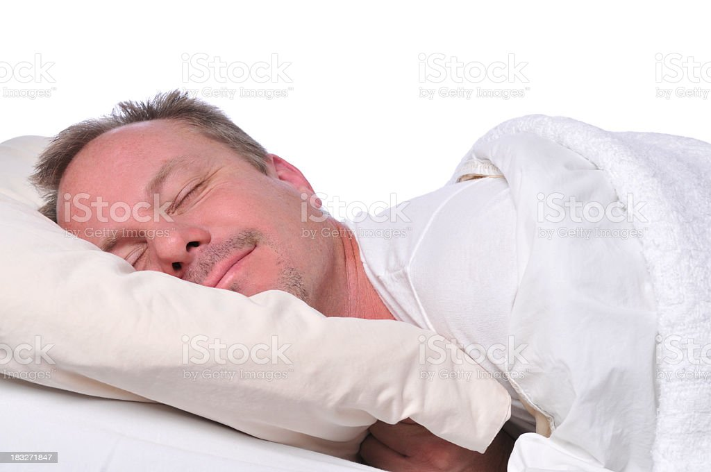 sleeping man stock photo