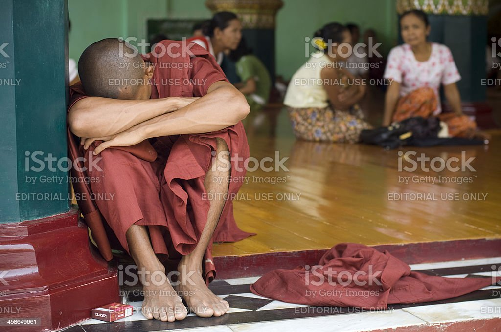 Sleeping monk royalty-free stock photo